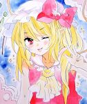 1girl ;p bangs bare_shoulders blonde_hair blue_background blush bow collarbone commentary_request cravat crystal eyebrows_visible_through_hair flandre_scarlet hair_between_eyes hat hat_bow long_hair looking_at_viewer marker_(medium) matsuppoi mob_cap one_eye_closed one_side_up pointy_ears red_bow red_eyes red_skirt red_vest simple_background skirt sleeveless solo sparkle tongue tongue_out touhou traditional_media upper_body v-shaped_eyebrows vest white_headwear wings yellow_neckwear