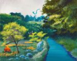cloud cloudy_sky commentary day dragonair english_commentary flower forest fuchsia_city gen_1_pokemon grass highres nature outdoors parasect pinsir plant pokemon pokemon_(creature) river rock scenery simone_mandl sky tree