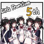 5girls ac130 ahoge anniversary apron black_hair blush clone girls_frontline gsh-18_(girls_frontline) highres medium_hair multiple_girls pink_eyes sidelocks