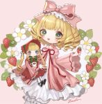 2girls bangs blonde_hair blue_eyes blunt_bangs bonnet bow cowboy_shot cup dress flower food frilled_bow frills fruit green_eyes hair_bow highres hina_ichigo holding holding_food holding_fruit lalala222 long_hair long_sleeves medium_hair multiple_girls open_mouth pink_background pink_bow pink_dress red_headwear red_ribbon ribbon ringlets rozen_maiden shinku signature smile strawberry twintails white_flower wide_sleeves