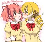 ... 2girls blonde_hair commentary_request drill_hair eromame eye_contact face-to-face hair_ribbon juliet_sleeves kaname_madoka long_sleeves looking_at_another mahou_shoujo_madoka_magica mitakihara_school_uniform multiple_girls open_mouth pink_eyes pink_hair puffy_sleeves red_neckwear red_ribbon ribbon school_uniform short_twintails sweat tomoe_mami translation_request twin_drills twintails upper_body yellow_eyes yuri