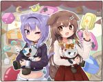 2girls 2others :d ;) animal_ears brown_hair cat_ears cat_girl cat_tail cowboy_shot cuphead cuphead_(game) demon_tail dog_ears dog_girl eye_contact fang hololive inugami_korone long_sleeves looking_at_another mugman multiple_girls multiple_others nekomata_okayu one_eye_closed open_mouth purple_hair sideways_glance smile tail tonton_(tonz159) virtual_youtuber