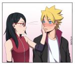 1boy 1girl artist_name bare_shoulders benteja black_eyes black_hair blonde_hair blue_eyes boruto:_naruto_next_generations boruto:_naruto_the_movie glasses holding_hands looking_at_another lying naruto naruto_(series) on_back simple_background uchiha_sarada uzumaki_boruto watermark whisker_markings whiskers white_background