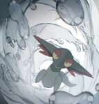 alu_drp blurry closed_mouth dreepy flying full_body gen_8_pokemon half-closed_eyes highres looking_at_viewer no_humans pokemon pokemon_(creature) solo water water_drop