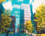 blue_sky building cloud cloudy_sky commentary english_commentary gen_1_pokemon grass highres leaf leaves_in_wind magnemite outdoors pikachu plant pokemon pokemon_(creature) post road saffron_city scenery sidewalk simone_mandl sky tree voltorb