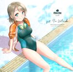 1girl blue_eyes breasts character_name commentary_request competition_swimsuit goggles goggles_around_neck green_swimsuit grey_hair highres jacket logo love_live! love_live!_sunshine!! medium_breasts one-piece_swimsuit orange_jacket poolside short_hair solo swimsuit toine track_suit watanabe_you water