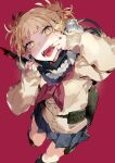 1girl absurdres belt blonde_hair blue_skirt boku_no_hero_academia cardigan dutch_angle fangs finger_in_mouth highres holding holding_knife holding_weapon karei knife messy_hair open_mouth pleated_skirt school_uniform serafuku skirt sleeves_past_wrists solo toga_himiko utility_belt weapon yellow_eyes