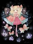 1girl bangs black_background blonde_hair blush bow bug butterfly crystal dress full_body gradient_hair green_eyes green_hair highres insect lalala222 long_sleeves looking_at_viewer multicolored_hair no_nose original pink_bow pink_butterfly pink_dress shoes solo white_footwear