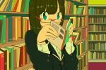 1girl aqua_eyes bangs black_jacket book bookshelf covered_mouth eyebrows_visible_through_hair glasses holding holding_book jacket long_sleeves looking_at_viewer nobile1031 original rectangular_eyewear red-framed_eyewear shelf shirt solo upper_body white_shirt