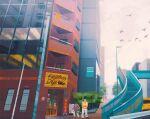 1boy bird black_belt_(pokemon) building car commentary day english_commentary english_text flying gen_1_pokemon ground_vehicle highres hitmonlee motor_vehicle outdoors plant pokemon pokemon_(creature) saffron_city scenery short_hair sign simone_mandl sky stairs standing tree
