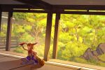 1girl architecture arm_up blue_skirt blurry blurry_background calf_socks commentary cup day dutch_angle east_asian_architecture furahata_gen hair_between_eyes hand_on_own_thigh highres holding holding_cup horn_ornament horn_ribbon horns ibuki_suika indian_style indoors long_hair looking_up low-tied_long_hair on_floor orange_hair red_eyes ribbon rock sakazuki shadow shirt sitting skirt sleeveless sleeveless_shirt smile solo tatami touhou tree very_long_hair white_legwear white_shirt wide_shot wrist_cuffs