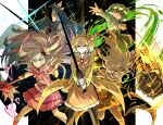5girls bandage_over_one_eye blonde_hair blue_hair fighting_stance gauntlets green_hair hair_ornament heart heart_hair_ornament kan_(aaaaari35) king_of_greed knight_of_despair library_of_ruina magical_girl multiple_girls pink_hair queen_of_hatred servant_of_wrath sword tiphereth_a_(lobotomy_corporation) wand weapon wonderlab