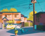 blue_sky building commentary english_commentary fuchsia_city gen_1_pokemon grass highres house outdoors plant pokemon pokemon_(creature) potted_plant power_lines road sidewalk sign simone_mandl sky utility_pole vaporeon water