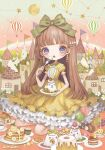 1girl aircraft bangs blunt_bangs blush bow brown_footwear brown_hair building candle constellation dress earrings food fork green_bow hair_bow heart highres holding holding_fork hot_air_balloon jewelry lalala222 long_hair open_mouth original plate shoes short_sleeves solo violet_eyes yellow_dress