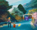 1boy backpack bag barricade blonde_hair blue_sky bush claws cloud cloudy_sky commentary electricity english_commentary forest gen_1_pokemon grass highres lightning long_hair nature nidoking outdoors plant poke_ball pokemon pokemon_(creature) raichu road rock simone_mandl sky tail tree tunnel