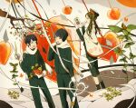 1girl 2boys bangs black_hair black_jacket black_pants brown_hair bug butterfly feet_out_of_frame gloves insect jacket leaf long_hair multiple_boys original oversized_object pants plant profile scarf scissors short_hair toinana twintails white_gloves white_scarf