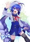 1girl :d ahoge aqua_bow aqua_headwear arm_at_side arm_up bangs black_legwear blue_eyes blue_hair blue_sailor_collar blue_skirt bow buttons eel_hat fang gradient_hair hair_bow hand_up hat highres leg_lift long_hair long_sleeves looking_at_viewer low-braided_long_hair low_twintails multicolored_hair neckerchief open_mouth otomachi_una red_neckwear sailor_collar saz8720 school_uniform serafuku skin_fang skirt smile solo suspender_skirt suspenders thigh-highs tsurime twintails very_long_hair vocaloid waving white_background