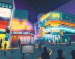 building celadon_city city commentary crowd english_commentary english_text gastly gen_1_pokemon highres neon_lights night night_sky outdoors pokemon pokemon_(creature) rattata scenery sidewalk sign signpost simone_mandl sky standing star_(sky) vileplume vulpix walking
