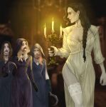 4girls absurdres alcina_dimitrescu annasassiart bela_(resident_evil) black_hair blonde_hair blood blue_hair braid brown_hair candlestand cassandra_(resident_evil) cloak daniela_(resident_evil) earrings highres holding holding_candle holding_weapon hood hooded_cloak jewelry long_hair looking_at_another looking_down multiple_girls necklace nightgown orange_hair pelvic_curtain resident_evil resident_evil_village smile tall tall_female thigh-highs weapon yellow_eyes