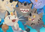 :d alolan_form alolan_meowth black_eyes blue_background cat clenched_teeth closed_eyes commentary_request fangs galarian_form galarian_meowth gen_1_pokemon gen_7_pokemon gen_8_pokemon highres kikuyoshi_(tracco) looking_at_viewer meowth no_humans open_mouth pokemon pokemon_(creature) sharp_teeth smile teeth tongue translation_request