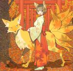 1girl animal animal_ears blush brown_hair fox_ears hakama japanese_clothes miko multiple_tails nobile1031 orange_theme original red_hakama sandals shadow short_hair solo tail torii tree