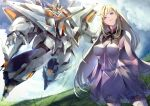 1girl bangs blonde_hair blue_eyes breasts cape clouds cloudy_sky commentary dress earrings flying gigi_andalusia grasslands green_eyes gundam gundam_hathaway's_flash highres jewelry large_breasts long_hair mecha mobile_suit sakusakusakurai science_fiction sky smile v-fin very_long_hair white_dress xi_gundam