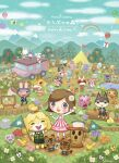 animal_crossing balloon box brown_hair bug butterfly butterfly_net character_request clouds cloudy_sky fishing flag flower gift gift_box ground_vehicle hand_net highres insect isabelle_(animal_crossing) k.k._slider_(animal_crossing) lalala222 leaf log long_sleeves motor_vehicle orange_flower plant purple_flower rainbow red_flower short_hair sky timmy_(animal_crossing) tommy_(animal_crossing) tree truck tulip villager_(animal_crossing) water white_flower wide_shot yellow_flower