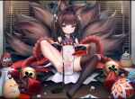 1girl amagi-chan_(azur_lane) animal animal_ear_fluff animal_ears azur_lane bare_legs bare_shoulders bird black_legwear brown_hair chick closed_mouth covered_navel daruma_doll eyeshadow feet fox_ears fox_girl fox_tail hair_intakes highres japanese_clothes kyuubi legwear_removed long_hair looking_at_viewer makeup manjuu_(azur_lane) multiple_tails no_panties no_shoes pelvic_curtain rope single_thighhigh sitting skindentation sleeveless solo spread_legs tail taitai thigh-highs thighs toes twintails violet_eyes