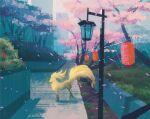 blue_sky building bush celadon_city cherry_blossoms commentary dirt english_commentary flower gen_1_pokemon grass highres lamppost lantern ninetales no_humans outdoors paper_lantern path plant pokemon pokemon_(creature) scenery sidewalk simone_mandl sky tree