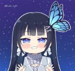 1girl aoi_nabi bangs black_hair blue_eyes bow bow_earrings bug butterfly butterfly_hair_ornament cleavage_cutout clothing_cutout earrings grey_sweater hair_ornament hairclip indie_virtual_youtuber insect jacket jewelry kukie-nyan long_hair looking_at_viewer meme_attire mini_necktie open-chest_sweater signature silver_jacket simple_background sky smile solo star_(sky) starry_sky sweater virtual_youtuber