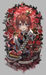 1boy black_gloves blush crown flower food fruit gloves grey_eyes hair_between_eyes holding lalala222 leaf long_sleeves looking_at_viewer plate red_flower red_rose redhead riddle_rosehearts rose short_hair smile solo strawberry thorns twisted_wonderland upper_body