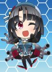 1girl ascot beret black_gloves black_hair black_legwear blue_background blue_headwear breasts cannon chibi commentary_request full_body garter_straps gloves gradient gradient_background hat honeycomb_(pattern) honeycomb_background kantai_collection large_breasts looking_at_viewer military military_uniform miniskirt pointing red_eyes short_hair skirt solo takao_(kancolle) thigh-highs turret uniform uzuki_kosuke white_neckwear
