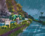blue_sky building bush commentary english_commentary exeggutor gen_1_pokemon grass highres mountain outdoors palm_tree plant pokemon pokemon_(creature) rain road sign simone_mandl sitting sky tree
