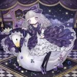 1girl bangs bird black_dress black_legwear blue_flower blunt_bangs blush bow constellation dress flower frilled_bow frilled_dress frills full_body gothic_lolita grey_eyes grey_hair hair_bow lalala222 leaf lolita_fashion long_hair long_sleeves looking_at_viewer no_nose original pantyhose purple_flower purple_footwear rug shoes signature sitting solo