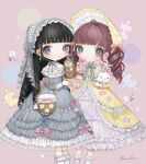 2girls bangs black_hair blunt_bangs blush bonnet bow bright_pupils brown_hair dress drill_hair feet_out_of_frame flower food frilled_dress frilled_legwear frills grey_dress grey_eyes heart ice_cream lalala222 long_hair long_sleeves looking_at_viewer multiple_girls no_nose original pink_bow puzzle_piece ringlets signature smile socks white_flower white_legwear white_pupils yellow_dress