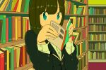 1girl aqua_eyes bangs black_jacket book bookshelf covered_mouth eyebrows_visible_through_hair holding holding_book jacket long_sleeves looking_at_viewer nobile1031 original shelf shirt solo upper_body white_shirt