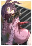 1girl absurdres android animal_ears apex_legends brown_hair camouflage closed_mouth gun handgun highres holding holding_gun holding_weapon hololive hood hoodie leaning_forward long_sleeves looking_at_viewer looking_down mechanical_arms mechanical_legs mine_tsukasa no_pants pink_hoodie pistol plaid plaid_scarf rabbit_ears red_scarf reverse_outfit roboco-san scarf scowl short_hair solo virtual_youtuber weapon yellow_eyes