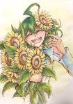^o^ ahoge green_hair multicolored_hair rin_(yuu-gi-ou_arc-v) risacan6627 smile yellow_flower yuu-gi-ou yuu-gi-ou_arc-v