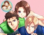 1girl 2boys bare_shoulders blonde_hair blue_eyes brown_hair chris_redfield closed_mouth curtained_hair fingerless_gloves gloves jill_valentine leon_s._kennedy looking_at_viewer multiple_boys nagare police police_uniform resident_evil resident_evil_1 resident_evil_2 resident_evil_3 short_hair smile uniform