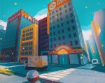 blue_sky building cloud cloudy_sky commentary electrode english_commentary gen_1_pokemon grass ground_vehicle highres motor_vehicle outdoors pikachu pokemon pokemon_(creature) road saffron_city scenery silhouette simone_mandl sky tree truck