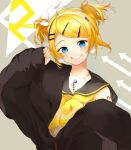 1girl alternate_hairstyle arrow_(symbol) bangs black_coat black_collar blonde_hair blue_eyes bow coat collar collared_shirt commentary grin hair_bow hair_ornament hairband hairclip hand_up highres kagamine_rin looking_at_viewer nail_polish neckerchief open_clothes open_coat oyamada_gamata sailor_collar shirt short_hair short_twintails shoulder_tattoo smile solo swept_bangs tattoo treble_clef twintails upper_body vocaloid white_bow white_shirt yellow_nails yellow_neckwear