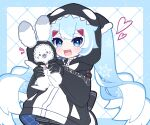 1girl 1other animal animal_ears beamed_eighth_notes black_gloves black_hoodie commentary eighth_note gloves hatsune_miku heart highres holding holding_animal holding_bunny hood hood_up hoodie light_blue_eyes light_blue_hair long_hair looking_at_viewer mozuzu69 multicolored_hair musical_note musical_note_print open_mouth orca rabbit rabbit_ears rabbit_yukine sharp_teeth smile snowflake_print staff_(music) teeth twintails two-tone_hair upper_body very_long_hair vocaloid whale_costume white_hair yuki_miku