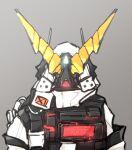 1girl arknights armor facing_viewer full_armor glowing grey_background gundam gundam_unicorn highres horns mask mudrock_(arknights) nt-d parody upper_body v-fin yamasemi_(yy8023)