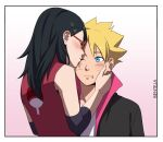 1boy 1girl artist_name bare_shoulders benteja black_eyes black_hair blonde_hair blue_eyes boruto:_naruto_next_generations boruto:_naruto_the_movie glasses holding_hands kiss looking_at_another lying naruto naruto_(series) on_back simple_background uchiha_sarada uzumaki_boruto watermark whisker_markings whiskers white_background