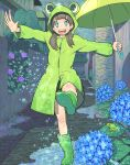 1girl blue_flower boots bright_pupils brown_hair building flower frog full_body green_footwear green_jacket green_umbrella highres holding holding_umbrella hood hood_up hooded_jacket hydrangea jacket leaf long_hair nobile1031 original outstretched_arms puddle purple_flower solo twintails umbrella walking water white_pupils