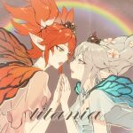 0x3 2others androgynous bangs bare_shoulders blue_eyes braid butterfly_wings earrings eye_contact fairy feo_ul film_grain final_fantasy final_fantasy_xiv flower green_eyes hair_flower hair_ornament hand_to_hand jewelry looking_at_another magnet_(vocaloid) multiple_others open_mouth orange_hair pointy_ears rainbow short_twintails silver_hair tiara titania_(final_fantasy) twintails wings