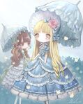 bangs blonde_hair blue_dress blunt_bangs brown_hair bush cowboy_shot dress flower frilled_dress frills grey_eyes hair_flower hair_ornament lalala222 lolita_fashion long_hair original parasol pink_flower short_sleeves signature umbrella white_dress
