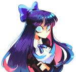 1girl bangs blue_bow blue_eyes blue_hair bow breasts collared_shirt colored_inner_hair crossed_arms firebay frown hair_bow highres juliet_sleeves long_sleeves looking_at_viewer medium_breasts multicolored_hair panty_&_stocking_with_garterbelt pink_hair puffy_sleeves shirt solo stocking_(psg) white_background white_shirt wide-eyed