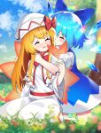 2girls :d ^_^ absurdres bangs blue_bow blue_dress blue_sky blurry blurry_background blurry_foreground blush bow bug butterfly capelet cirno closed_eyes clouds dress eyebrows_visible_through_hair fairy_wings flower gradient_sky grass hair_bow hat hat_bow highres hug ice ice_wings insect lily_white long_hair long_sleeves multiple_girls open_mouth orange_hair outdoors puffy_short_sleeves puffy_sleeves rainbow red_bow seiza short_sleeves sitting sky smile touhou tree white_capelet white_dress white_headwear wide_sleeves wings yuujin_(yuzinn333)