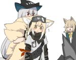 3girls :d ^^^ ^_^ animal_ear_fluff animal_ears arknights arm_ribbon ascot black_capelet black_gloves black_headwear black_pants blonde_hair blush capelet closed_eyes closed_mouth coat commentary dog_ears dog_girl eyebrows_visible_through_hair eyes_visible_through_hair eyewear_on_head fox_ears fox_girl fox_tail gloves goggles goggles_on_head green_coat green_eyes hair_between_eyes hat id_card kumamoto_aichi kyuubi long_hair multiple_girls multiple_tails open_clothes open_coat open_mouth pants podenco_(arknights) pouch red_eyes red_ribbon ribbon rock silver_hair simple_background skadi_(arknights) smile solo surprised suzuran_(arknights) suzuran_(lostlands_flowering)_(arknights) tail tail_hug white_background yellow_ribbon